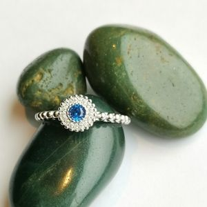 NWT Sterling Silver CZ sapphire ring sz 7